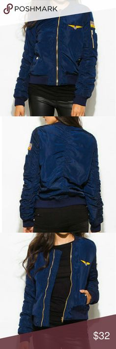 Navy Blue Military Embroidered Jacket Brand new jacket from my boutique. Just trendy item for the fall. Item is navy blue with gold detailing. Exquisite Styles  Jackets & Coats