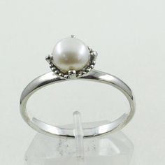 Pearl Stone Tiny Design 925 Sterling Silver Ring by JaipurSilverIndia on Etsy