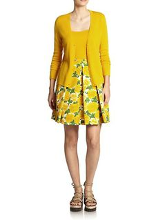 Michael Kors Peony-Print Matelassé Skirt (sold out) and cashmere sweater (for €1146.77)