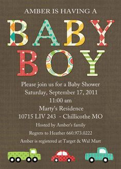 car baby shower invitation baby boy shower by katiedidesigns