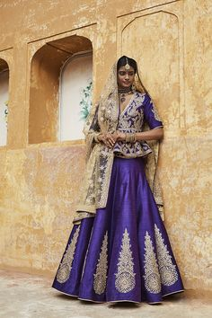 Purple Bridal Lehenga with Silver Motifs