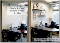 #officemakeover #decoratingyourhusbandsoffice | Real Southern Living Blog |  Pinterest | Small Office, Decoru2026