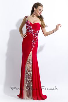 One shouldered jeweled strap. Sheer and jeweled slit.