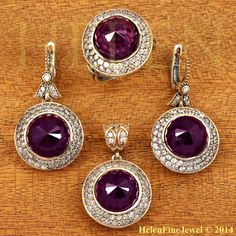 Hurrem Sultan Set  Round Shape Amethyst  Color by helenfinejewels