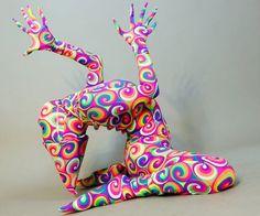 Kaleidoscopic pattern catsuit Glow and Bright by KikimoraFashion