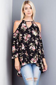 Open Shoulder Floral Top - Black