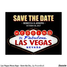Las Vegas Neon Sign - Save the Date Wedding Postcard