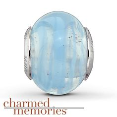 Charmed Memories Turquoise Murano Glass  Sterling Silver Charm