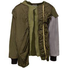 424 x Alpha Industries x Slam Jam MILITARY KIMONO ($1,950) ❤ liked on Polyvore featuring intimates, robes, grey robe, kimono robe, gray robe, grey kimono and green kimono