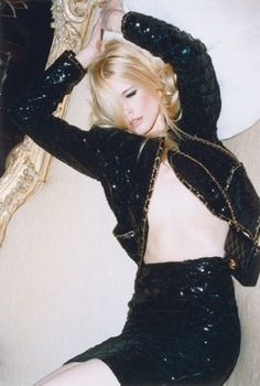 Claudia Schiffer for Chanel {Sequined Chanel Holiday Suit}