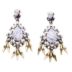 Pair of Rivet Faux Gem Water Drop Earrings