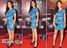 VJ-actress-singer Sophie Choudhry looked stunning in a blue minidress at the nomination party of the Global Indian Music Academy (GiMA) Awards held in Mumbai.