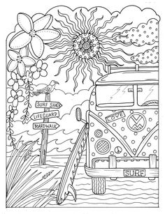 5 pages Beachy Escape coloring Digital color pages Shells ocean surf tiki dolpjins palm trees instant downloads