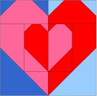 "Great blog with free paper pieced quilt block patterns. Here is one for Valentine's Day. ""Heart Within A Heart""  http://365quiltblocks.blogspot.com/2009/10/block-12-heart-within-heart.html"