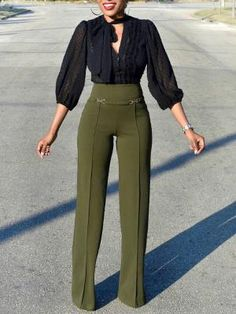 Solid Buckle High Waist Wide Leg Pants Boutiquefeel - Real Time - Diet, Exercise, Fitness, Finance You for Healthy articles ideas Business Outfit Frau, Business Casual Outfits, Classy Outfits, Chic Outfits, Party Outfits, Fall Outfits, Trend Fashion, Fashion Pants, Fashion Outfits