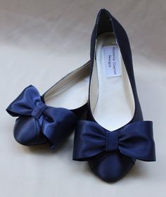Marine Wedding Flat Bow Flats by TheCrystalSlipper on Etsy