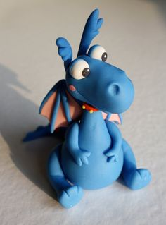 Fondant Doctor Inspired Blue Dragon Cake Topper