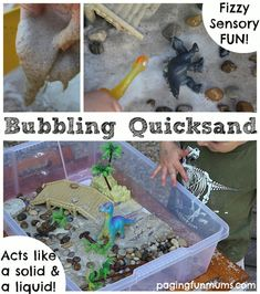 Bubbling Quicksand! An easy Sensory Play Recipe. Perfect for a Dinosaur Sensory Tub, or an Ocean themed one too!