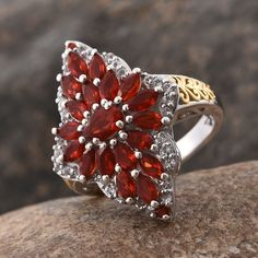 Jalisco Cherry Fire Opal and White Topaz Cluster Ring in 14K Yellow Gold and Platinum Overlay Sterling Silver (Nickel Free)