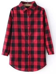 Red Black Long Sleeve Plaid Blouse 16.48