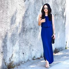 Stitch Fix Stylist & blogger @hey_im_kate shows how to wear a maxi when you're mini: with platform wedges. #StylistTip #petites (Jax Maxi Dress)