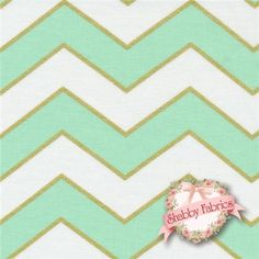 "Glitz 5709-MIST Mist By Michael Miller Fabrics: Glitz is a modern collection by Michael Miller Fabrics. 100% cotton. 43/44"" wide. This fabric features thick chevrons in soft mint green and off-white, and a thin chevron in metallic gold."