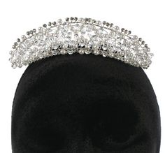 Faux Pearls and Acrylic Crystal Beaded Tiara with Metal Hair Comb -- Check out the image by visiting the link.