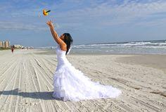 Vanessa Playing Catch With Bouquet Beach Wedding In New Smyrna Fl