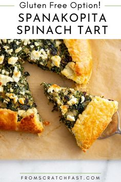 This savory spanakopita-inspired spinach tart is easy to make and has an incredible flavor from a few secret ingredients. Serve it as a main course, appetizer OR brunch! The tart can easily be made gluten free. Gluten Free Vegetarian Recipes, Gluten Free Appetizers, Gluten Free Recipes For Breakfast, Gluten Free Breakfasts, Vegetarian Breakfast, Breakfast Dishes, Tart Recipes, Quick Recipes, Quick Easy Meals