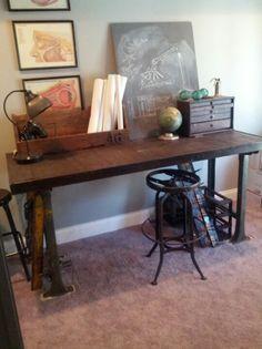 Facebook. com/RnMVintage  Industrial vintage work bench. Eye doctor charts old chalk board