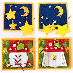 Felt Quiet Book Page: Moon & Stars and Mushroom LacingDía y noche- hongo acordonado-barco- palmera