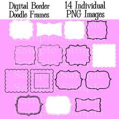 Digital Labels, INSTANT DOWNLOAD, Border Frames Clip Art, Doodle Frames Clipart, Personal and Commercial