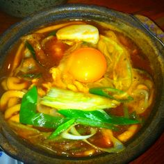 "Nagoya Aichi Japan Local food ""Miso Nikomi U don"" U don is Noodles This Noodle is Miso soup in Noodles."