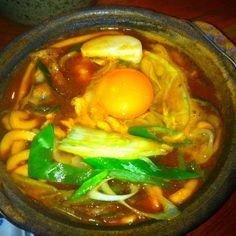 "Nagoya Aichi Japan Local food ""Miso Nikomi U don"" U don is Noodles This Noodle is Miso soup in Noodles."