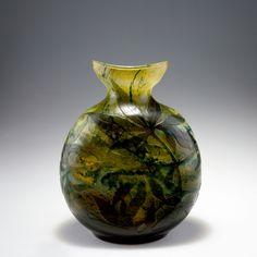 ** Emile Gallé, Nancy, (1846-1904), Blown, Internal Inclusions and Engraved Glass Vase.