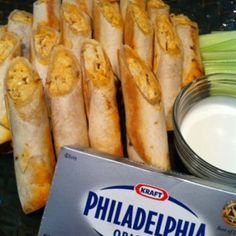 Buffalo Chicken Taquitos... I used my own dip recipe tho. Easy and yummy