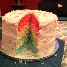 Birthday cake for my boy! Turned out pretty good. Thanks for the Rainbow Layer Cake recipe @Kraft what's cooking - Canada ! I substituted lemon for orange so we had my son's favorite color.