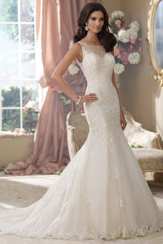 Beach Boho Chic Hollywood Glam Modest Nautical/Preppy Romantic $$$ - $1501 to $3000 Bateau Beading David Tutera for Mon Cheri Dropped Fit-n-Flare Floor Illusion Jewel Lace Mermaid/Trumpet Sleeveless Sweetheart Tulle Wedding Dresses Photos & Pictures - WeddingWire.com