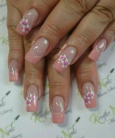 #unaselegantes Long Nail Designs, Fingernail Designs, French Nail Designs, Pretty Nail Designs, Nail Polish Designs, Nail Art Designs, Pink Nail Art, Acrylic Nail Art, Heart Nails