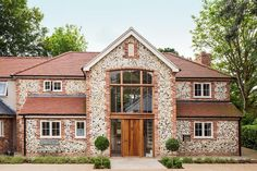 Spectacular Brick & Flint Clad Home - Build It Style At Home, House Front, My House, Clad Home, Oak Frame House, Timber House, Dream House Exterior, House Extensions, Facade House