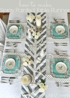This was made with a cheap tablecloth cut to size, tape, and spray paint! Full tutorial on how to make spray painted table runner when you click the pic.