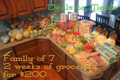 Family of 7, TWO weeks of groceries, lots of food storage items and spent only $200!! Visit our blog to find out how and where to get the best deals. By Deals to Meals