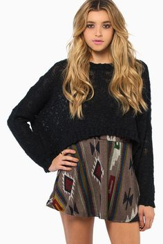 tribal skirt cropped sweater