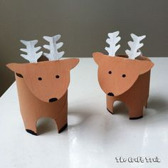 Cute, fun & easy! Kids will love recycling toilet rolls to make Santa's Reindeer. How To: 1) Make 4 dots around the bottom of a toilet roll, marking the 4 opposite sides. Cut a small arch around each of the dots. Once you have cut the first arch, use the small piece removed to trace the exact shape over the remaining 3 dots, this way they are all the