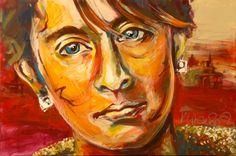 """Aung San Suu Kyi"" by Karin Urbani-Späth, Acryl auf Leinwand, 120x80"