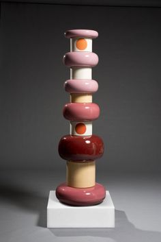 """Ettore Sottsass totem. after a trip to India, he created his """"Ceramics of Darkness"""" and """"Ceramics to Shiva"""" in the first half of the 1960s.  His Totems – for Bitossi – are further testimony of how he freely shifted from art to industrial design and back."""