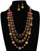 Gold Plated Jewelry Set Necklace Pierced Earrings Beaded Layered Chain Green Pink Yellow