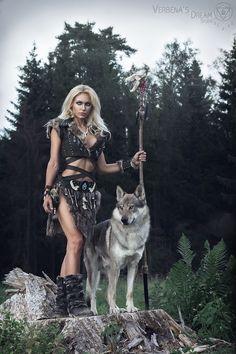 Girl and wolf_StevenKeough Viking Warrior Woman, Tribal Warrior, Warrior Girl, Warrior Princess, Warrior Queen, Fantasy Girl, Fantasy Female Warrior, Fantasy Women, Vikings