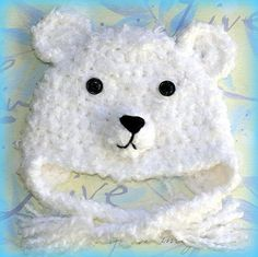 0 m.o. to 12 m.o.Bear baby hat, Polar Bear hat, winter bear, Baby crochet hat, animal hat, Photography Prop -Made to order