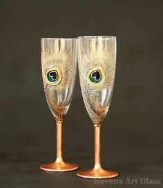 CUSTOM ORDER, Wedding Glasses,Toasting Champagne Flutes, Peacock Glasses, Copper, Hand Painted Set of 2
